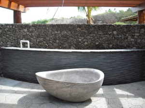 Lava rock floor and water wall